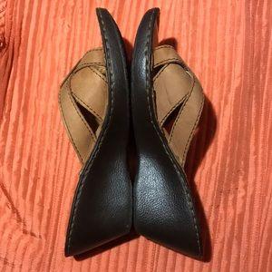 MERONA Leather Clog Wedge Platform Sandals Sz 7.5